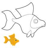 Guldfiskfärgläggningbok Fantastisk gul fisk Arkivfoto