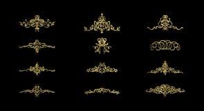 Guldgnäggandelinjer och gamla dekorbeståndsdelar i vektor Royaltyfri Fotografi
