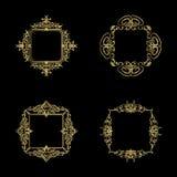 Guldgnäggandelinjer och gamla dekorbeståndsdelar i vektor Fotografering för Bildbyråer