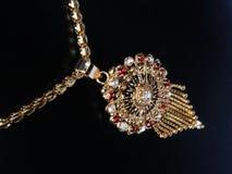 Guldhalsband med gemstones Royaltyfri Foto