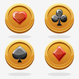 Guldleken myntar poker Royaltyfri Fotografi