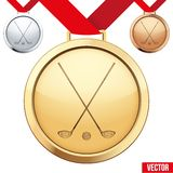 Guldmedalj med symbolet av en golf inom Arkivfoton