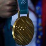 Guldmedaljen av den olympiska vintern XXIII spelar PyeongChang 2018 som segras av den olympiska mästaren i dam`-mogul Perrine Laf arkivfoto