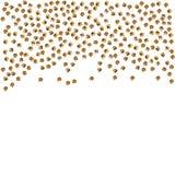 Guldprickar som isoleras på vit bakgrund Fallande guld- abstrakt garnering för partiet, födelsedag firar, årsdagen eller händelse Royaltyfri Bild