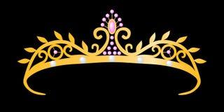 guldprincesstiara royaltyfri illustrationer