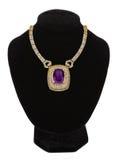 Guldsmyckenhalsband med den violetta stenen royaltyfri foto