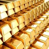 Guldstänger Arkivbild
