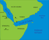 Gulf of Aden map Stock Images
