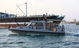 US NAVY inshore security patrolling in port of Djibouti. GULF OF ADEN, REPUBLIC OF DJIBOUTI FEBRUARY 06, 2016: US NAVY inshore security patrolling in port of Stock Images