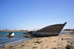 Gulf of Aden. Salvage ship in Gulf of Aden Stock Photo