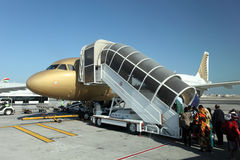 Gulf Air aircraft boarding. Manama, Bahrain Royalty Free Stock Photos