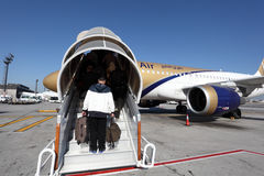 Gulf Air aircraft boarding. Manama, Bahrain Royalty Free Stock Image