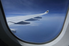 Gulf Air logo on aircraft wing in flight Stock Image