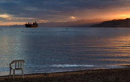 Gulf of Aqaba at sunset, Eilat, Israel Royalty Free Stock Photo