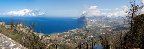 Gulf of Bonagia (mount Cofanor) view from Erice Royalty Free Stock Images