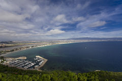 Gulf of Cagliari city. Scenic view of Cagliari city and Poetto beach, Sardinia Royalty Free Stock Photography