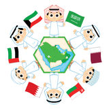 Gulf Cooperation Council. Children surrounding the map of countries which belongs to Gulf Cooperation Council ( Bahrain, Kuwait, Oman, Qatar, Saudi Arabia, and Royalty Free Stock Photos