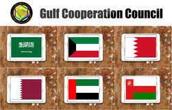 Gulf cooperation council flags. Flags of countries of gulf cooperation council on white tablet on rusty wooden background. the countries are Bahrain, Kuwait Royalty Free Stock Images