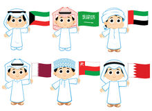Gulf Cooperation Council Flags. Kuwait , Saudi Arabia , United Arab Emirates , Qatar ,  Oman and  Bahrain Stock Photo