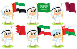 Gulf Cooperation Council Flags. United Arab Emirates , Saudi Arabia , Qatar , Bahrain  Kuwait  and Oman Stock Images