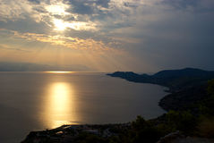Gulf of Corinth in the evening sun Royalty Free Stock Photography