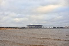 Gulf of Finland of Baltic Sea and new Stadium St. Petersburg. ST.PETERSBURG, RUSSIA - 17 NOVEMBER 2018: Gulf of Finland of Baltic Sea and new Stadium St stock photos