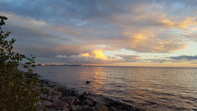 The Gulf of Finland. Sea Port of St. Petersburg. At sunset. Park 300th anniversary Stock Image