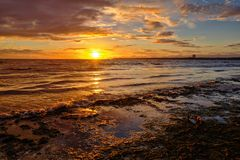 Gulf of Finland at sunset Stock Photos