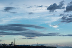 Gulf of harbour in cloudy scene Stock Photography