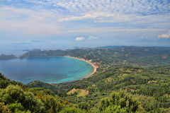 Gulf with hill. Greek bay with sky background Royalty Free Stock Photography