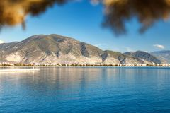 Gulf in the Mediterranean Sea. Mountain ranges in Kemer Royalty Free Stock Image