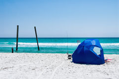 Gulf of Mexico along the Emerald Coast with Beach Tent Royalty Free Stock Photos