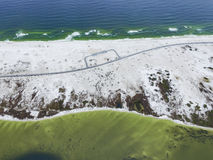 Gulf of Mexico and Beach in Pensacola. Road with Parking area. Royalty Free Stock Photos