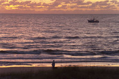 Gulf of Mexico Fishing In the Colorful Dusk Stock Photos