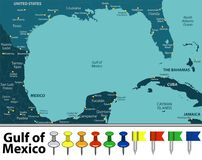 Gulf of Mexico map. Vector map of Gulf of Mexico with countries, big cities and icons Stock Photos