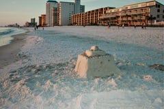 Gulf of Mexico sunset beach Christmas sunset sand castle stock photos