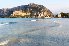 Gulf of mondello, palermo, with the bathhouse Stock Images