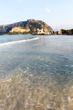 Gulf of mondello, palermo, with the bathhouse Royalty Free Stock Image