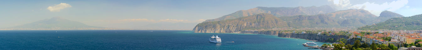 Gulf of Naples. View of Sorrento, Mount Vesuvius and Gulf of Naples royalty free stock photography