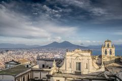 Gulf of Naples afternoon panorama Stock Photography