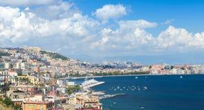 Gulf of Naples, cityscape under blue sky Stock Photo