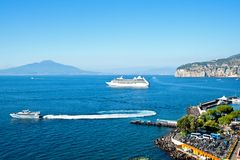 Gulf of naples with cruiser liner Royalty Free Stock Photography