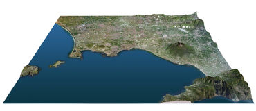 Gulf of Naples map, cross section, Vesuvius Stock Image