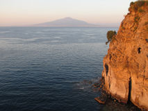 Gulf of Naples with Mount Vesuvius. In the distance, shot taken at late afternoon from St.Agnello coast, near Sorrento Royalty Free Stock Photography
