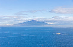 Gulf of Naples and Mount Vesuvius. View from Sorrento city, Ital. Picturesque view of Gulf of Naples and Mount Vesuvius on the background. View from Sorrento Royalty Free Stock Photos