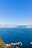 Gulf of Naples and Mount Vesuvius. View from Sorrento city, Ital. Picturesque view of Gulf of Naples and Mount Vesuvius on the background. Sorrento city stock photos