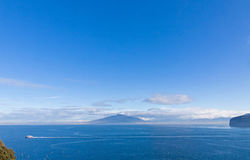 Gulf of Naples and Mount Vesuvius. View from Sorrento city, Ital. Picturesque morning view of Gulf of Naples and Mount Vesuvius on the background. View from royalty free stock image