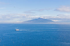 Gulf of Naples and Mount Vesuvius. View from Sorrento city, Ital. Picturesque morning view of Gulf of Naples and Mount Vesuvius on the background. View from royalty free stock photo