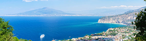 Gulf of Naples from Sorrento. View of Sorrento, Mount Vesuvius and Gulf of Naples Royalty Free Stock Photos