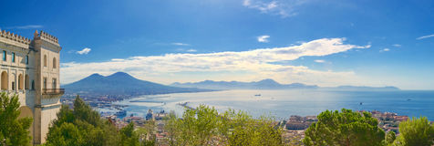 Gulf of Naples and Sorrento Coast. Panoramic view of the Gulf of Naples and Sorrento Coast from Certosa di San Martino stock image